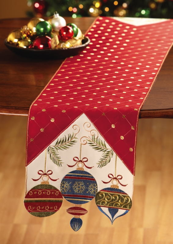 Holiday Ornament Embroidered Christmas Table Runner