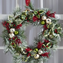 Jingle Bells & Holly Christmas Holiday Door Wreath