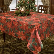 Poinsetta Elegance Printed Tablecloth