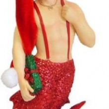 Santa's Helper Merman Ornament 7 inch