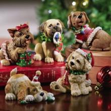 Set of 5 Christmas Holiday Dog Collectible Figurines