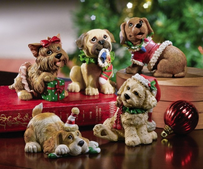 Set of 5 Christmas Holiday Dog Collectible Figurines
