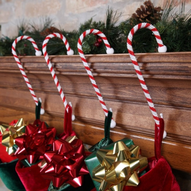 Set of Four Candy Cane Stocking Holders