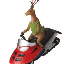 Deer on a Snowmobile Ornament