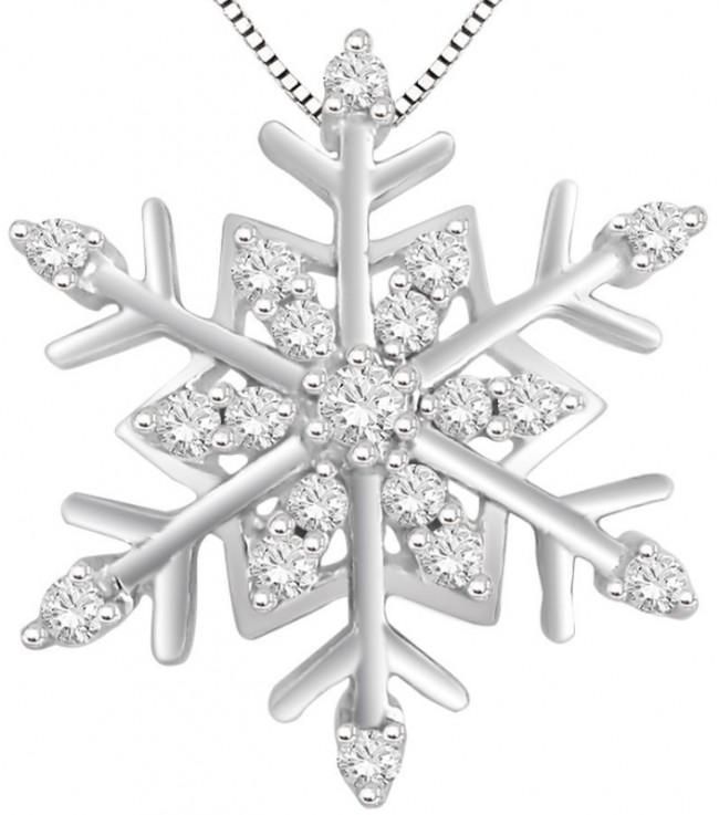Silver Diamond Snowflake Pendant Necklace