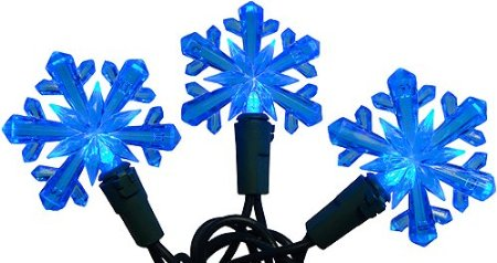 Blue LED Snowflake Christmas Lights