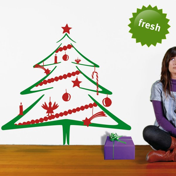 Wall Sticker Christmas Tree red-green