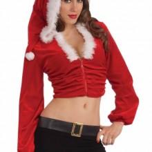Sexy Mrs Santa Claus Helper Christmas Costume Crop Hoodie
