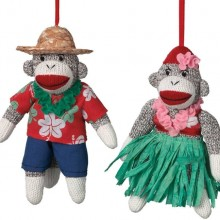 Hula Sock Monkey Ornaments Set of 2 Man and Woman