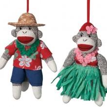 Hula Sock Monkey Ornaments Set of 2 Man and Woman