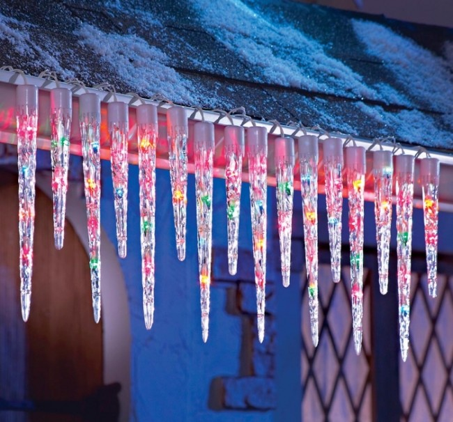 Multi Colored Icicle String Lights Christmas