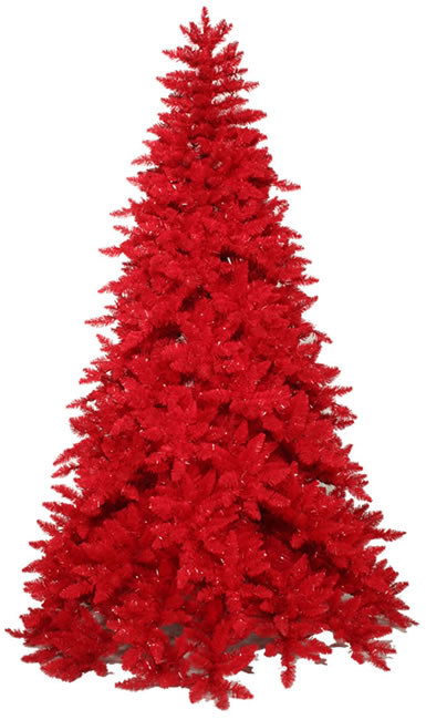 7.5' Pre-Lit Slim Red Ashley Spruce Artificial Christmas Tree