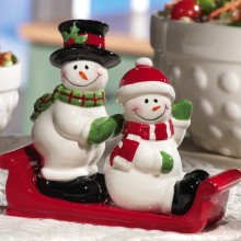 Snowmen Holiday Ceramic Salt & Pepper Shaker Set