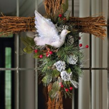 Fiber Optic Holiday Dove Floral Cross Decoration
