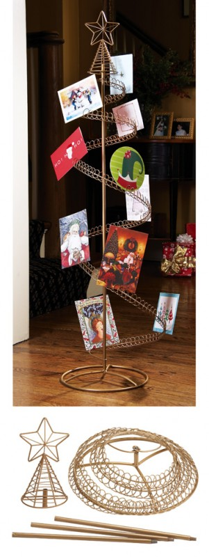 Spiral Holiday Tree Christmas Card Holder