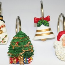 Christmas Time Fabric 6 by 6 Shower Curtain Hooks