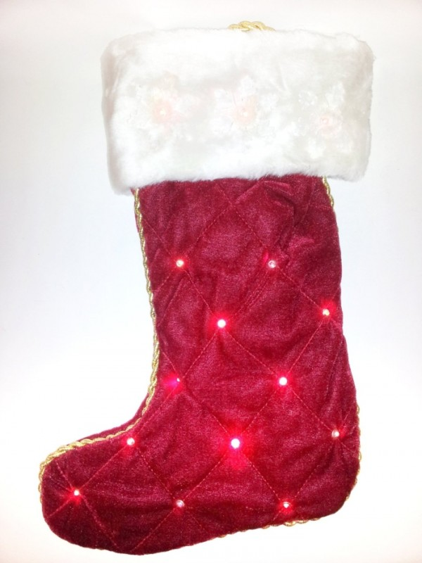 Red LED Light Up Christmas Stocking