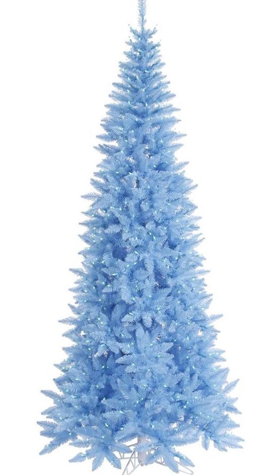 Blue 5 5 Pre Lit Sky Blue Fir Slim Artificial Christmas