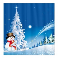 Snowman Christmas Shower Curtain