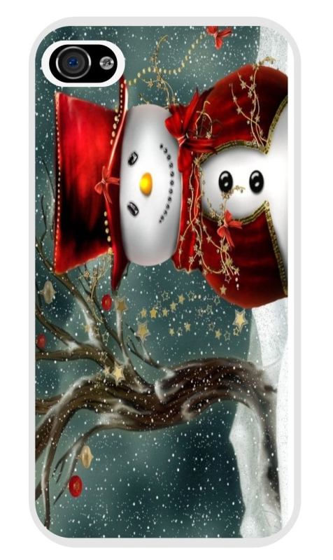 Holidays Snowman Design White Hard Case Cover for Apple iPhone 5
