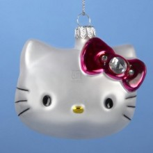 Sanrio Hello Kitty Head Glass Christmas Ornament