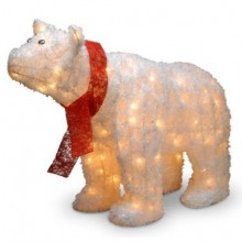 Pre-Lit Indoor-Outdoor Polar Bear with Red Scarf