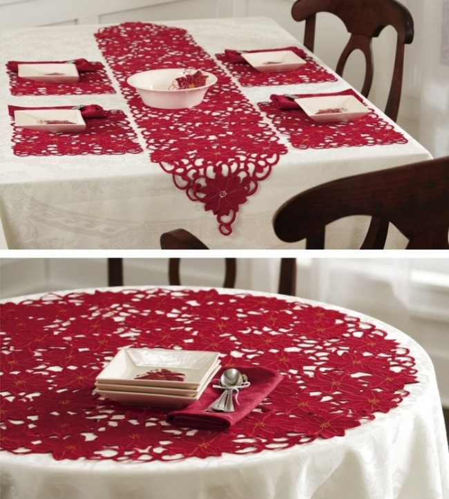 Embroidered Poinsettia Holiday Table Linens Runner