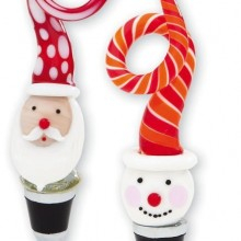Glass Santa and Snowman Stoppers