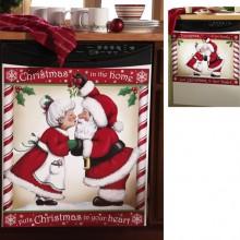 Kissing Santa Decorative Christmas Dishwasher Cover Magnet