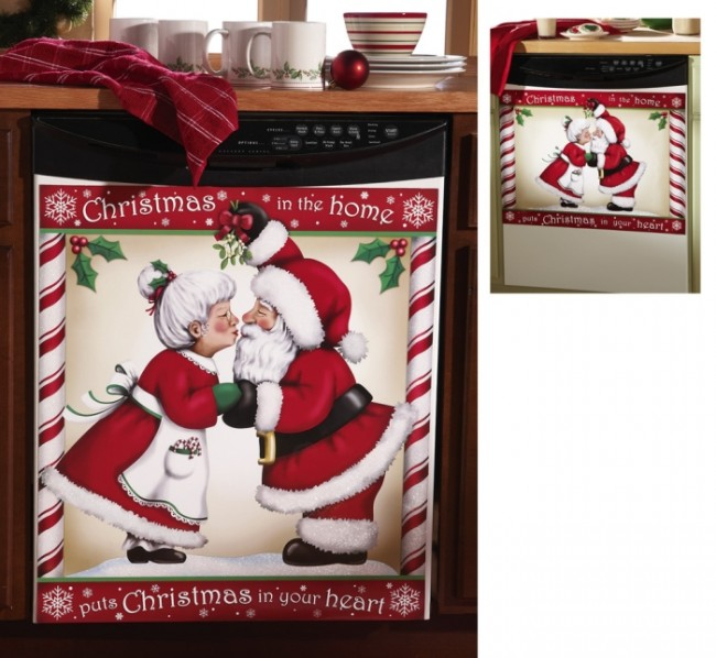 Kissing Santa Decorative Christmas Dishwasher Cover Magnet