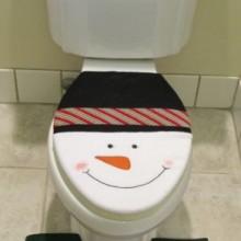 4 Pcs Christmas Santa Bathroom Toilet Seat Cover and Rug Set