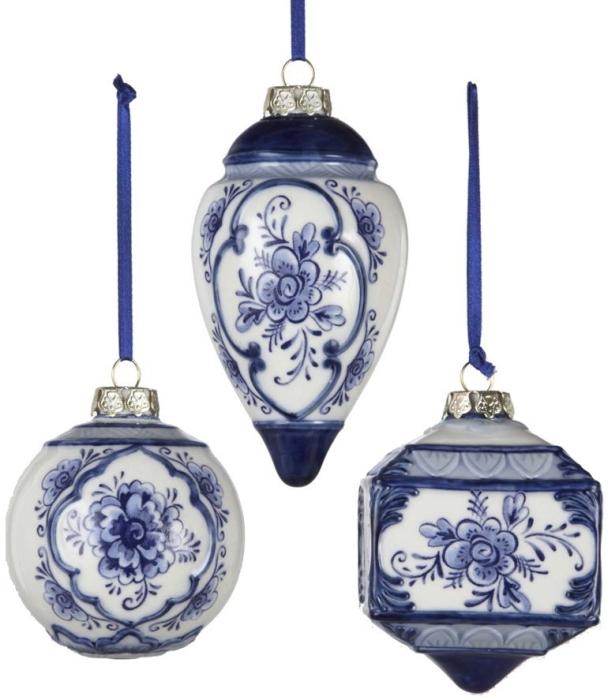Kurt Adler 3 4 5 Porcelain Delft Blue Ornament Set Of 3
