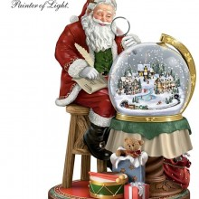 Thomas Kinkade Santa's Checking His List Musical Sculpture