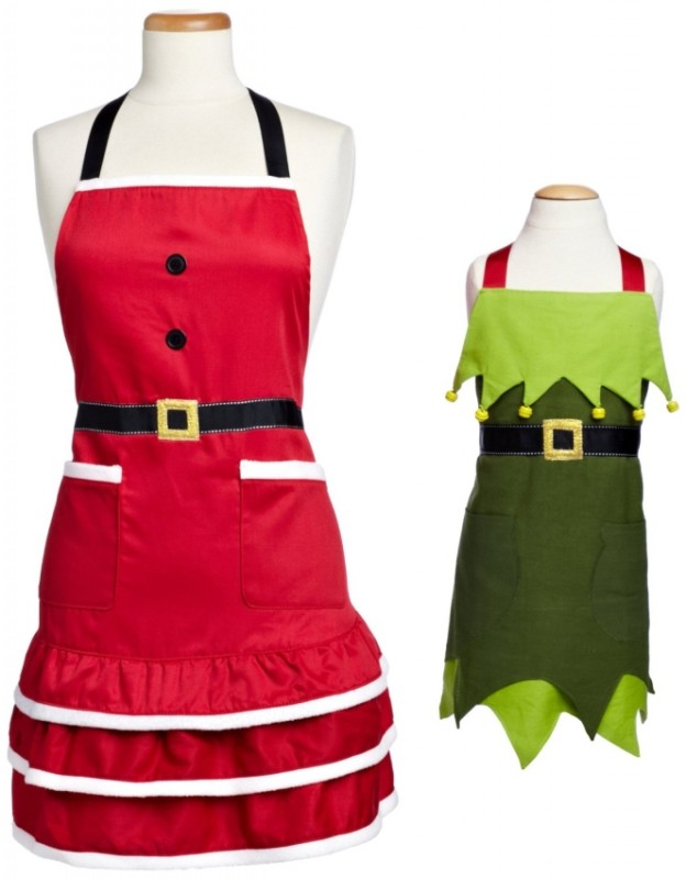 Baking Adult Santa Apron and Child's Elf Apron