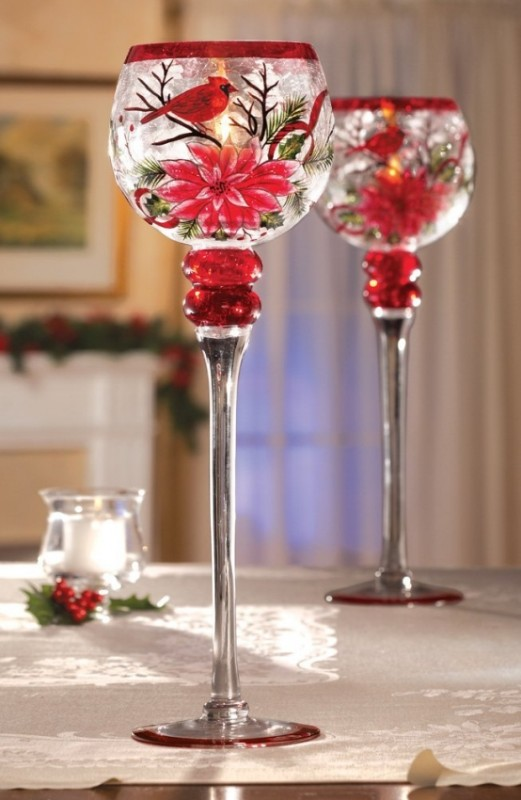 Christmas Cardinal Poinsettia Stemmed Glass Votive Holder
