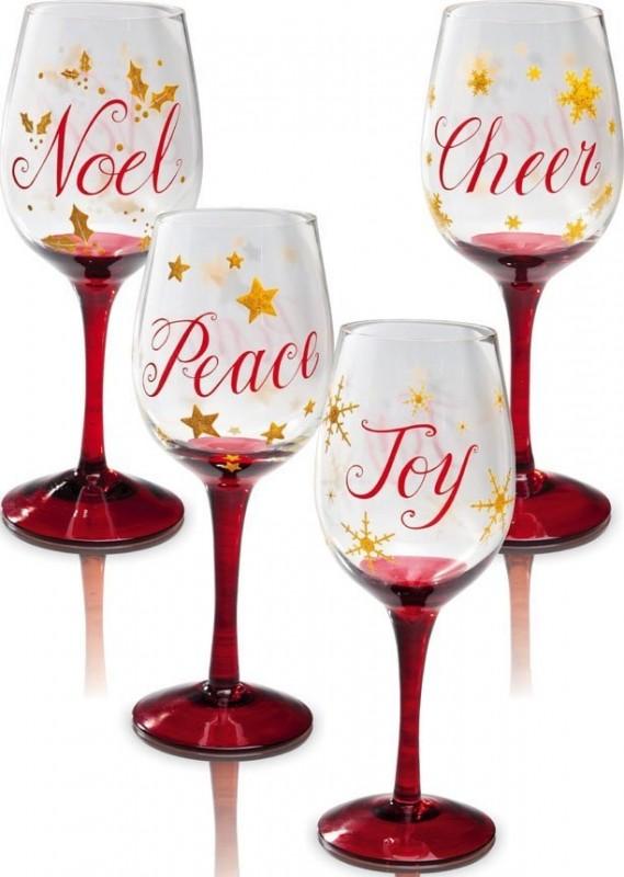 Christmas Slippers Wine Glass