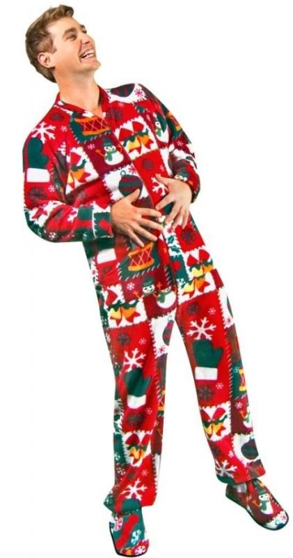 Christmas Sweater Print Fleece Drop Seat Footed Pajamas
