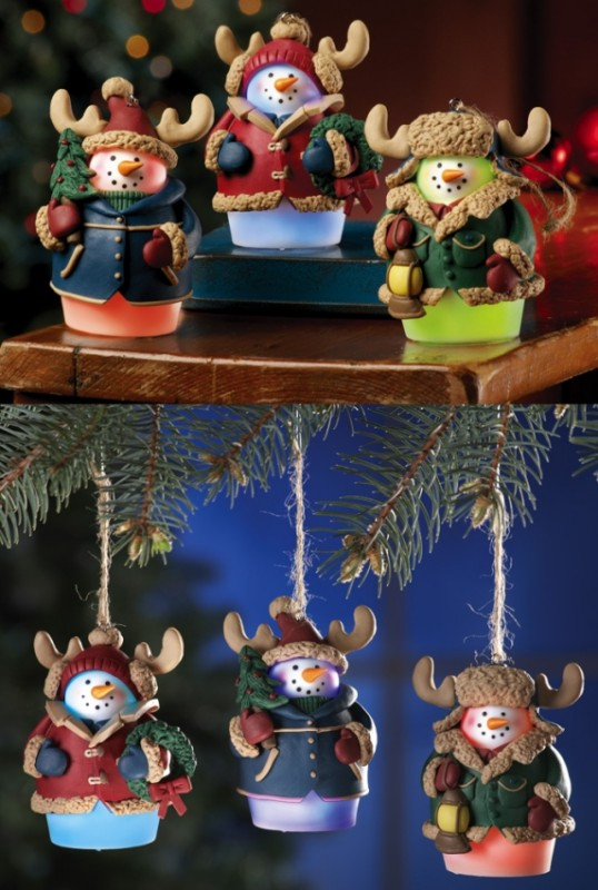 Color Changing Woodland Snowmen Ornaments