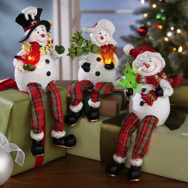 Lovable Lighted Winter Snowman Decorative Sitters