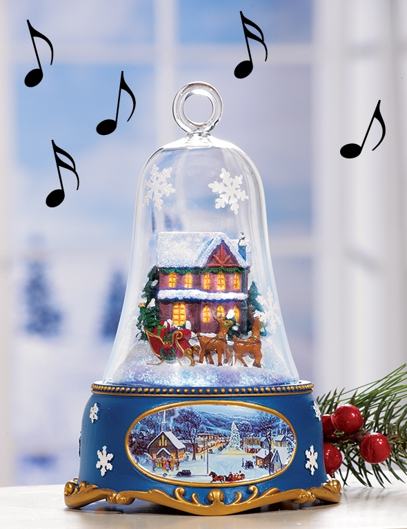Santas Sleigh Lighted Musical Bell