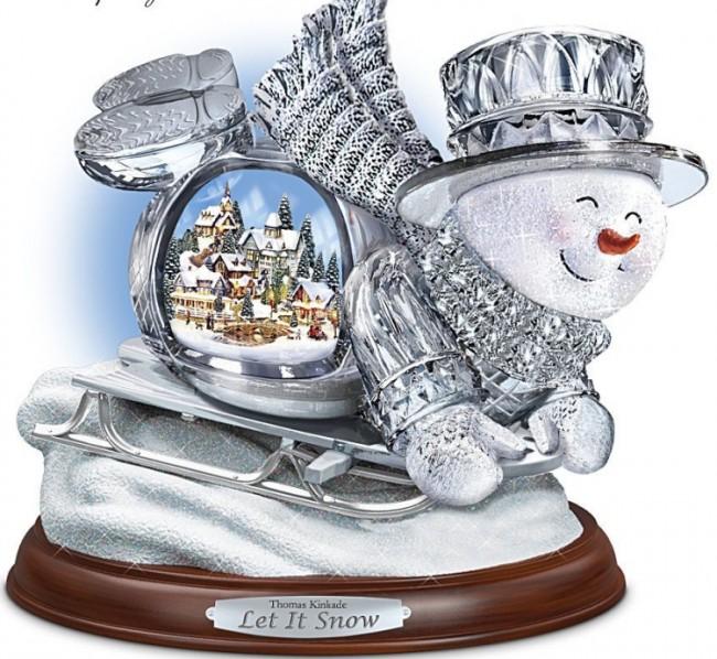 Thomas Kinkade Crystal Sledding Snowman