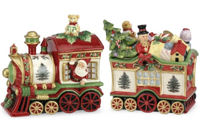 Tree 2-Piece Train Set Covered Cookie Jar