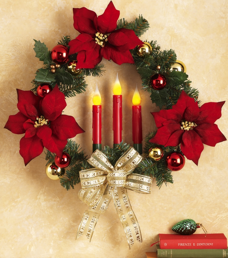 Lighted Flickering Candle Poinsettia Floral Holiday Wreath