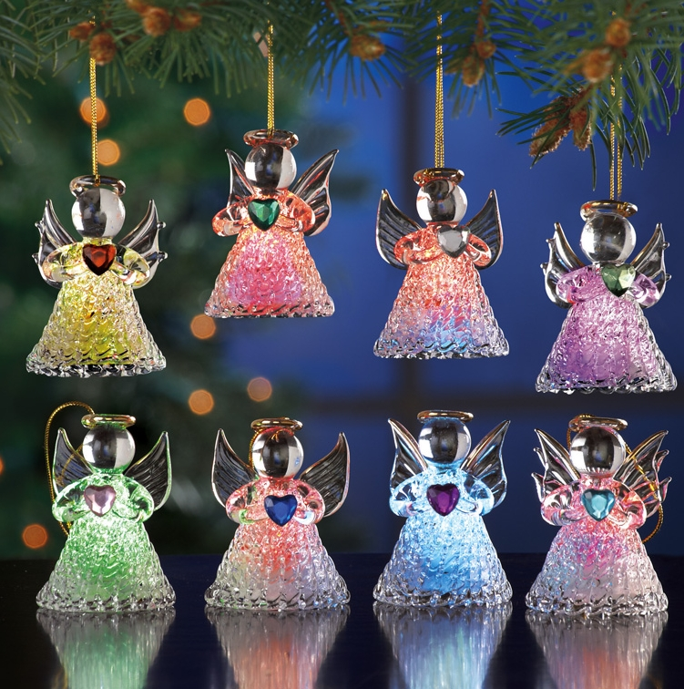 Color Changing Glass Angel Ornaments Christmas