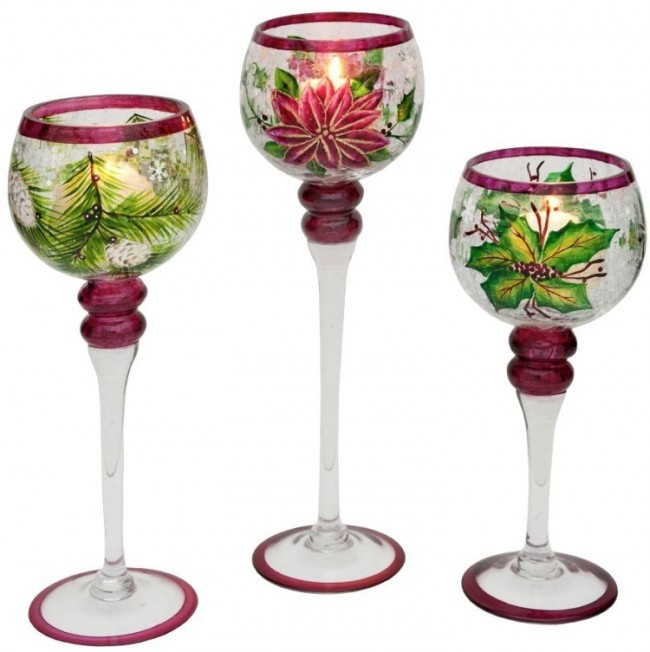 Christmas Hand Painted Glass Candlestick
