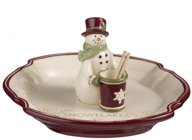 Deck the Halls Olive Tray with Toothpick Holder