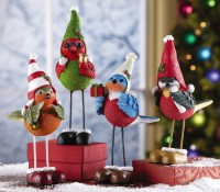 Holiday Alpine Ski Birds Christmas Figurines