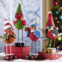 Holiday Alpine Ski Birds Christmas Figurines