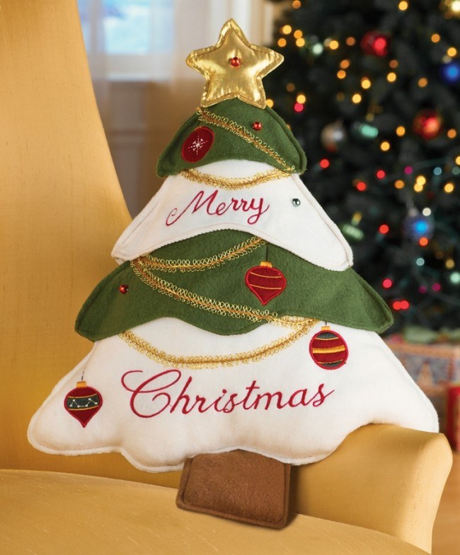 Merry Christmas Tree Accent Pillow