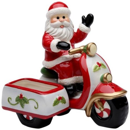 Santa Riding a Scooter Salt and Pepper Set with Sugar Pack Holder